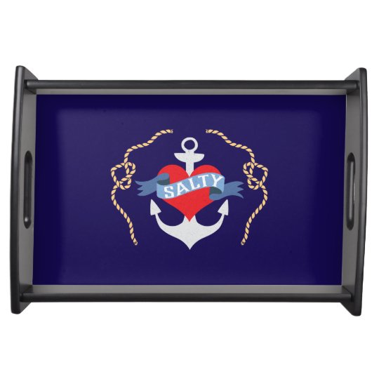 Old Salt Heart and Anchor Nautical Serving Tray