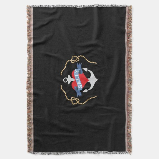 Old Salt Heart and Anchor Nautical Throw Blanket