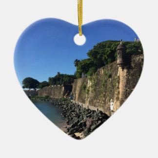 Old San Juan Historical Site Ceramic Heart Ornament
