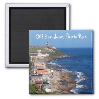 Old San Juan, Puerto Rico Coastline Square Magnet