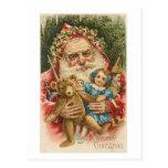 Old Santa and Toys Post Card