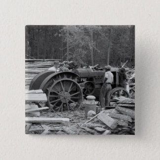 Old Sawmill Tractor, 1935 2 Inch Square Button