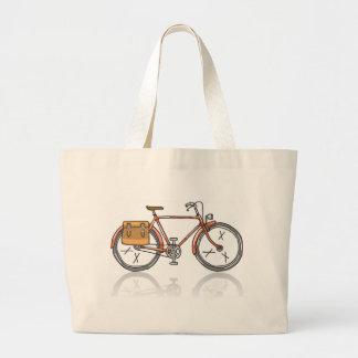 Old School Bicycle Sketch Large Tote Bag
