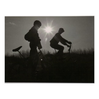 Old school BMX print, Silhouette, Two Subjects Poster
