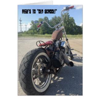 Old school bobber motorcycle birthday card