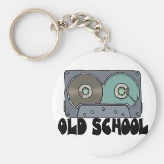 old school cassette tape basic round button keychain