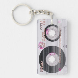 Old school cassette tape Double-Sided rectangular acrylic keychain