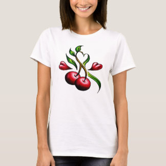 Old School Cherries Hearts Tattoo T-Shirt