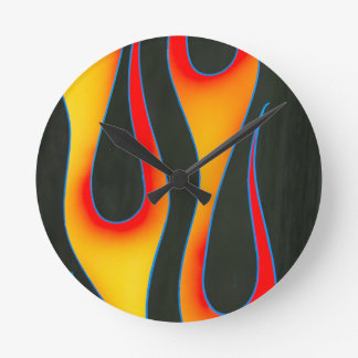 old school custom flames wall clock