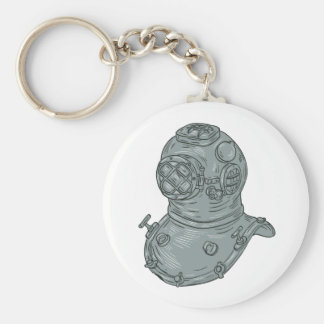 Old School Diving Helmet Drawing Basic Round Button Keychain