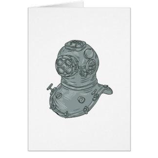 Old School Diving Helmet Drawing Card