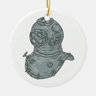 Old School Diving Helmet Drawing Ceramic Ornament