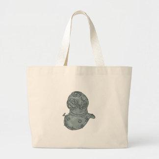 Old School Diving Helmet Drawing Large Tote Bag