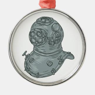 Old School Diving Helmet Drawing Metal Ornament