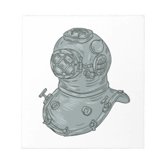 Old School Diving Helmet Drawing Notepads