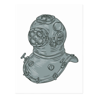 Old School Diving Helmet Drawing Postcard