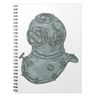 Old School Diving Helmet Drawing Spiral Notebook