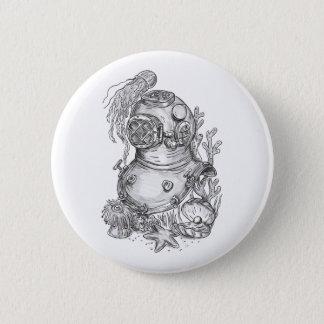 Old School Diving Helmet Tattoo 2 Inch Round Button