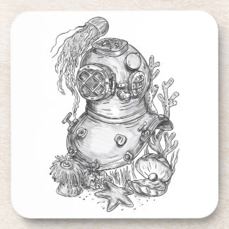 Old School Diving Helmet Tattoo Coaster