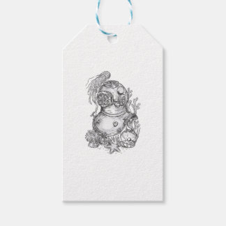 Old School Diving Helmet Tattoo Gift Tags
