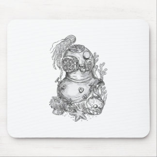 Old School Diving Helmet Tattoo Mouse Pad
