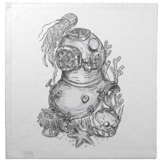 Old School Diving Helmet Tattoo Napkin