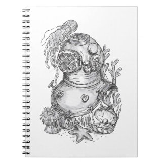 Old School Diving Helmet Tattoo Notebooks