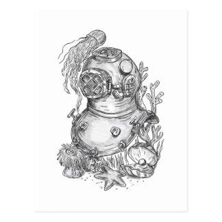 Old School Diving Helmet Tattoo Postcard