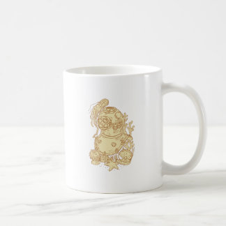 Old School Diving Helmet Underwater Drawing Coffee Mug