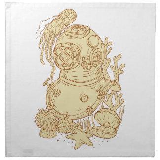 Old School Diving Helmet Underwater Drawing Napkin