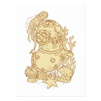 Old School Diving Helmet Underwater Drawing Postcard
