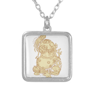 Old School Diving Helmet Underwater Drawing Silver Plated Necklace