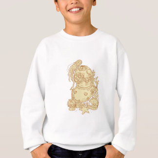 Old School Diving Helmet Underwater Drawing Sweatshirt