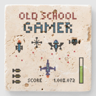 Old School Gamer Spacheship Stone Coaster