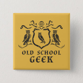 Old School Geek Owl Button