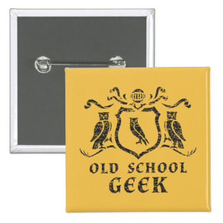 Old School Geek Owl Button