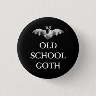 Old School Goth Vampire Bat 1 Inch Round Button