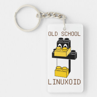 OLD SCHOOL LINUXOID Single-Sided RECTANGULAR ACRYLIC KEYCHAIN