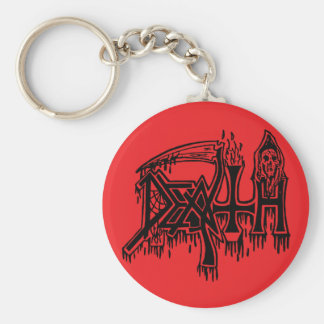 Old School Logo black on red button Basic Round Button Keychain
