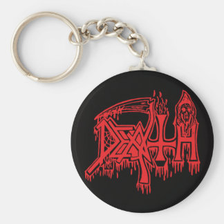 old School Logo red on black button Keychain