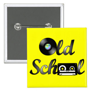 Old School Music Media Square (Yellow) 2 Inch Square Button