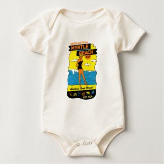 Old-School Myrtle Beach Postcard Baby Bodysuit