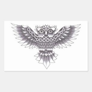 Old School Owl Tattoo Design Sticker