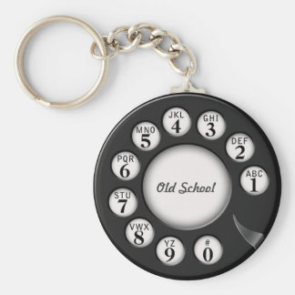 Old School Rotary Phone Dial Basic Round Button Keychain