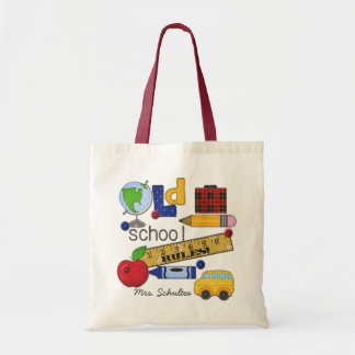 """Old School Rules"" Personalized Natural Tote Bag"