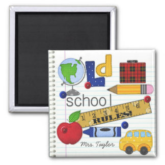 """Old School Rules"" Personalized Teacher Magnet"