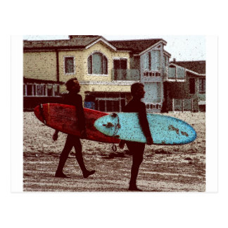 Old School Surfers Postcard