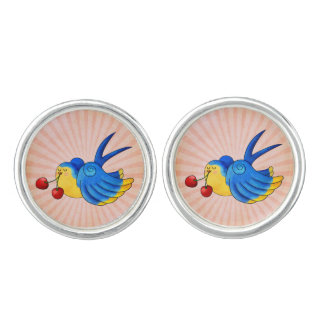 Old School Swallow with Cherry Cufflinks