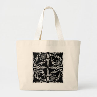 Old school tattoo daggers and eyes large tote bag