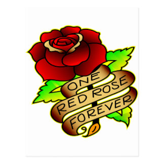 Old School Tattoo Rose Postcard